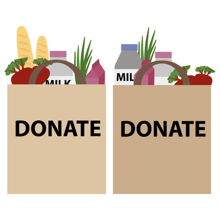 charity drive: Food donation papper bag for homeless people. Vector concept illustrations. Illustration