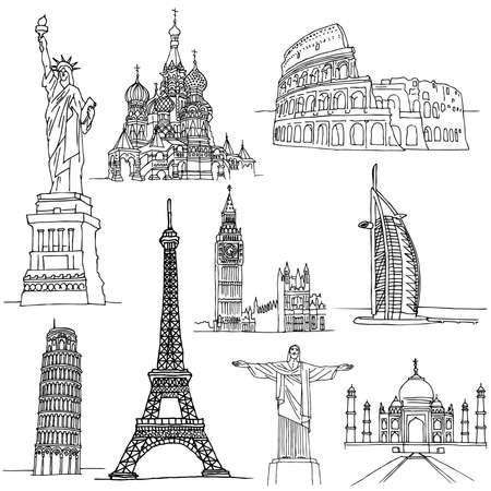 famous places: Sketches of Famous Places. Famous buildings in world