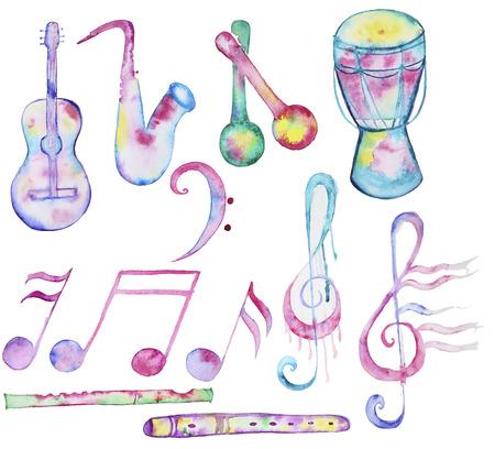Von Hand gezeichnet Aquarell Musikinstrumente-Sammlung auf weißem Hintergrund. Satz von musikalischen Zeichen und Musikinstrumente
