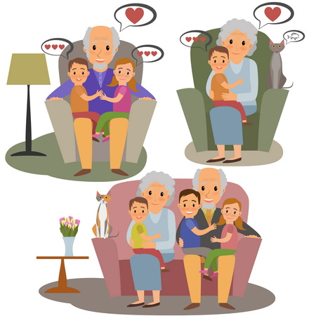baby grand: Big Family set. Happy family whith grandchildrens and grandparents sitting on the sofa whith cat Illustration
