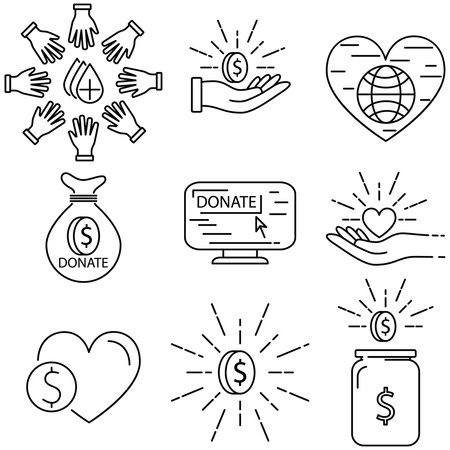 charity collection: Charity and donation line icons collection. Danation line icon set Illustration