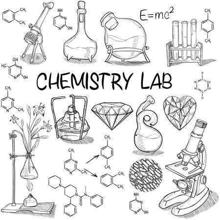 手描き科学ヴィンテージ化学ラボ スケッチ セット。ベクトルの図。学校に戻る落書き実験装置。生物学、化学のコレクション