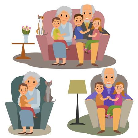 défini Big Family. Happy family cinque grandchildrens et grands-parents assis sur le canapé cinque chat Vecteurs