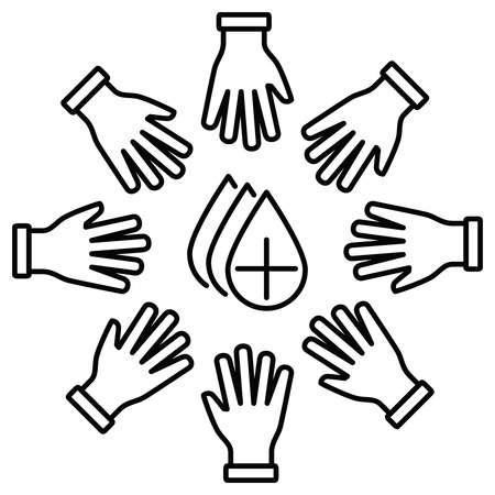 fundraiser: Donation line icon circle of donors, and hands in the center of the blood drop.