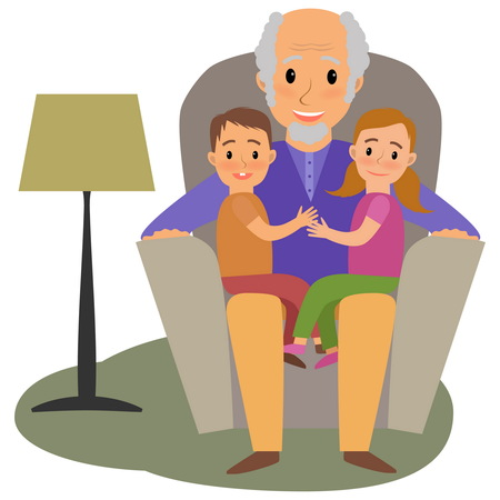 older woman smiling: Happy family whith grandchildrens and granddad on the sofa