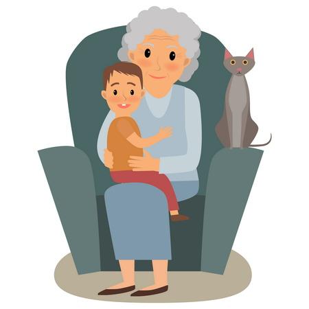 Grande famille. Happy family cinque grandchildrens et grands-parents assis sur le canapé cinque chat