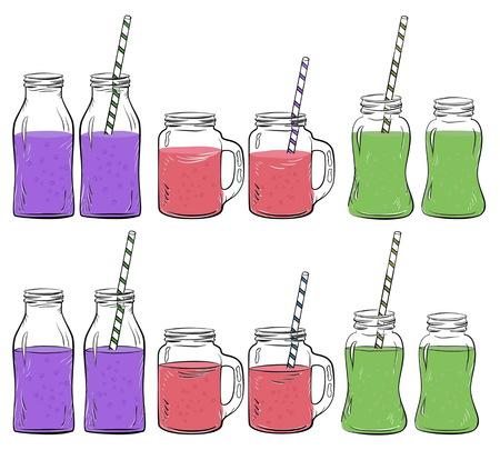detox: Glass bottles sketches set for smoothie, Yogurt and fresh juse, for detox cocktails. Whith straw. Illustration