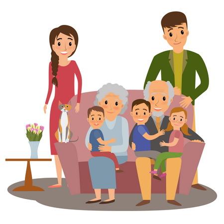 Grande famille. Happy family cinque grandchildrens, les parents et les grands-parents assis sur le canapé cinque chat