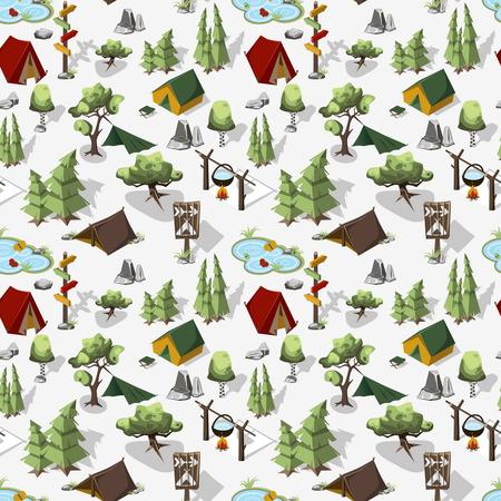 等尺性シームレス パターン。森の中、テントの中で一晩をハイキングします。週末は自然の中。図