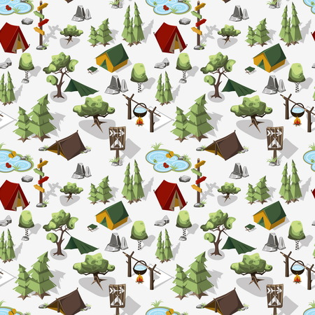 Isometric seamless pattern. Hiking in the forest and Overnight in a tent. Weekend in nature. illustration Vettoriali
