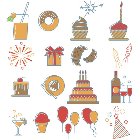 event party: Party line icons collection of special event and happy birthday party organization , thin line style.