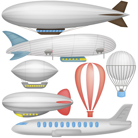 Airship, balloons and airplane in icons collection isolated vector illustration Illustration
