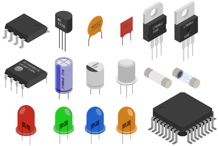 triode: Isometric Electronic components icons set. Electrical components collection