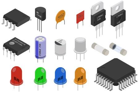 Izometryczne zestawy elementów elektronicznych. Kolekcja elementów elektrycznych Ilustracje wektorowe