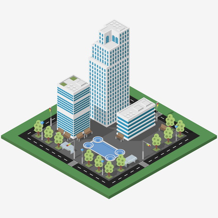 city center: Isometric megalopolis business city. Vector isometric city center map with skyscrapers, offices and fountain