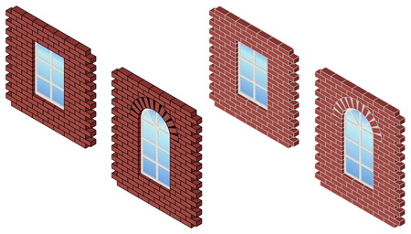 Vector illustration of brick wall whith window. Red brick wall. Window in a brick wall.