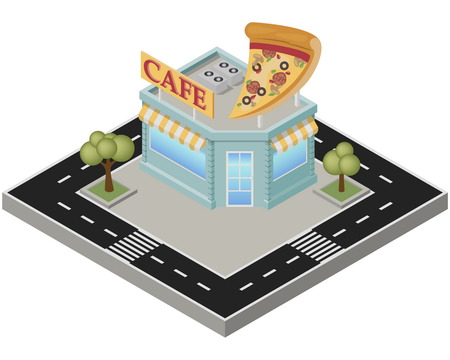 overhang: Isometric pizza cafe building with road on a white background. Pizzeria in the isometric projection. Illustration.