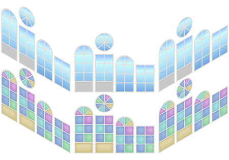 casement: Collection of windows in isometric view. Windows whith blue glass and stained-glass window. Vector illustration