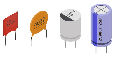 Different Capacitors in isometric view. Isometric Electronic components icons set. Ilustração