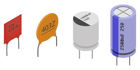 Los condensadores diferentes en vista isométrica. Conjunto isométrico Componentes electrónicos iconos.