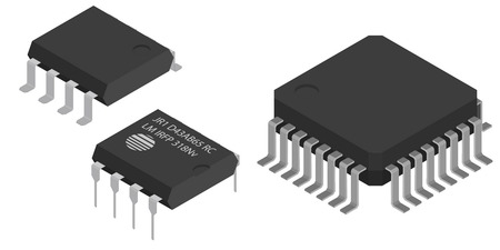 Los microchips diferentes en vista isométrica. Conjunto isométrico Componentes electrónicos iconos.