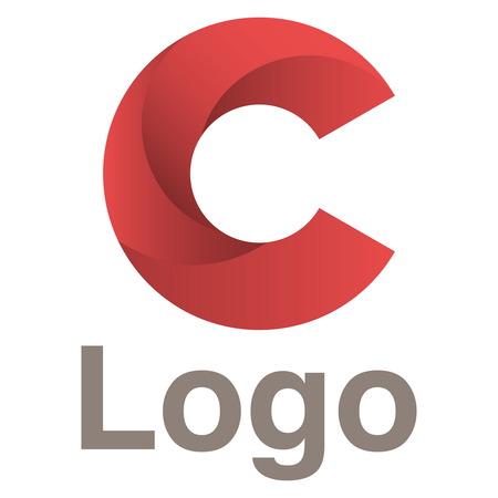 Plantilla de diseño de logotipo. Los círculos rojos Concepto de la insignia. letra C