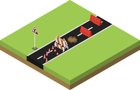 Road repair, under construction city road, maintenance and construction of pavement. Isometric vector illustration Illustration