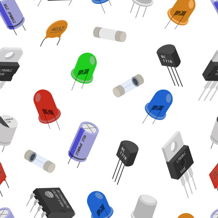 componentes: Seamless pattern background of Isometric Electronic components. Background of different Electronic components in isometruc style. Vectores