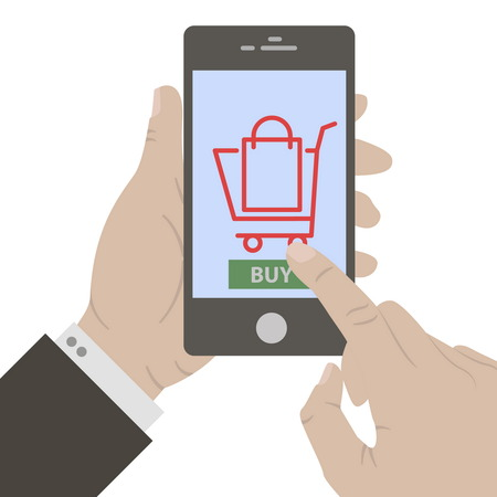 holing: Mobile payment. Flat design. Hand holing smart phone with buy button and basket on the screen. E-commerce flat design concept. Using mobile smart phone for online purchasing. Illustration
