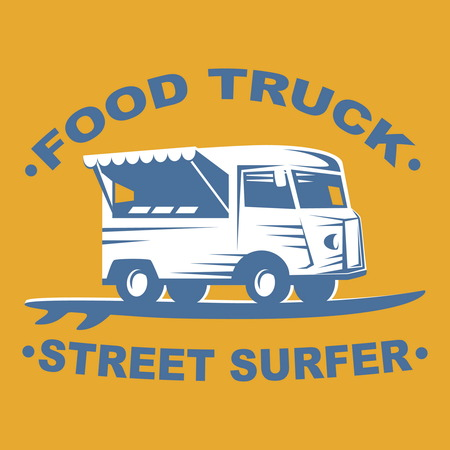 restaurant bar: Food truck emblems and logo with surf board on yellow background. Street surfer food truck. Vector illustration