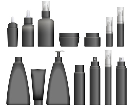 balsam: Realistic black Cosmetics bottles set on white background. Cosmetic cream containers and tubes for cream, lotion and shampoo, gel and balsam. Vector Illustration