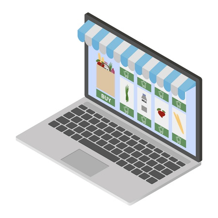 onlineshop: Online shop on modern laptop Illustration