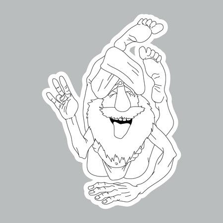 yogi: Funny yogi sticker. Illustration