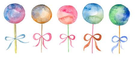 Watercolor set of lollipop