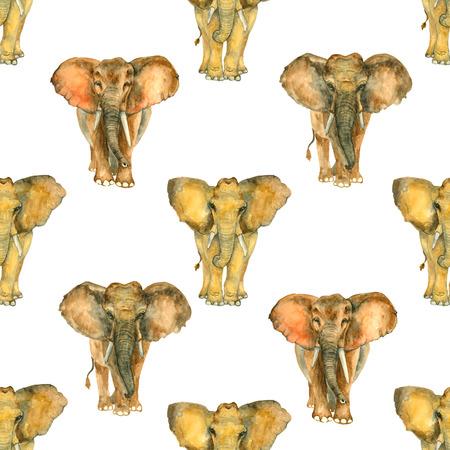 象から水彩画のシームレス パターン