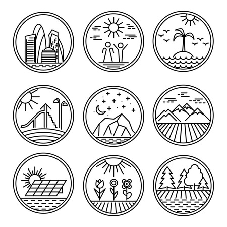 city building: Round Linear icons and logo design elements with landscapes. Urban and nature scenes icons set. Vector illustration