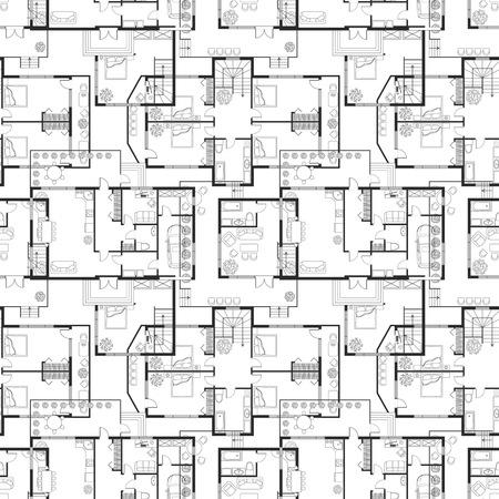 Naadloos patroon van architecturale plannen Vector Illustratie