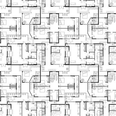 Seamless pattern of architectural plans