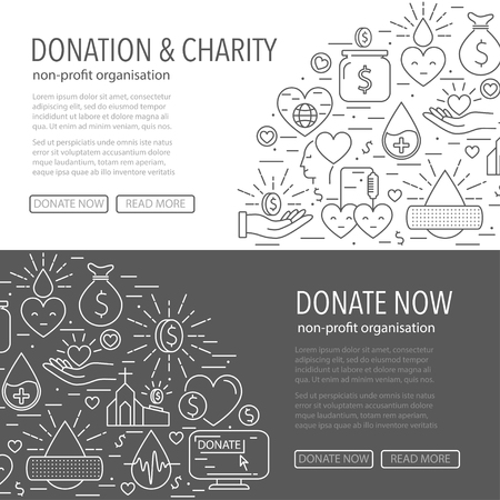 Donation banner template from line icons. Horizontal banner with different donation linear style elements on gray and white background. Donation blood and money, charity concept