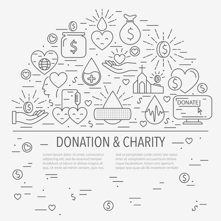 Concept of charity and aid, money and blood donations. Template with place for text. Line style vector illustration Illustration