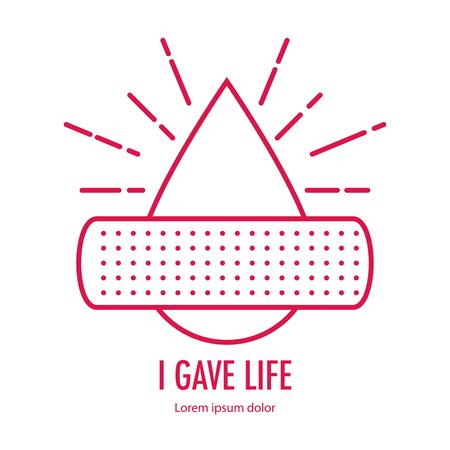 Donar diseño de sangre sobre fondo blanco. Parche en concepto de gota de donación de sangre. con la letra di sangre. Ilustración de vector en estilo lineal. Foto de archivo - 89107960