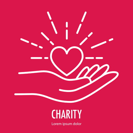 Heart in hand symbol line icon. Logo template for charity and donation, voluntary and non profit organization. Vector illustration isolated on red background. Illustration