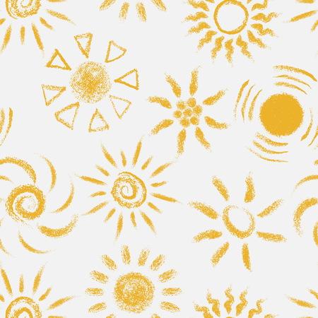 手描きのシームレスなパターン ・ サンズをチョークします。パステル クレヨン suny シームレス パターンで塗装。ベクトル図