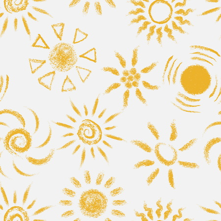 Seamless pattern of Hand drawn chalk Suns. Painted with pastel crayons suny seamless pattern. Vector illustration