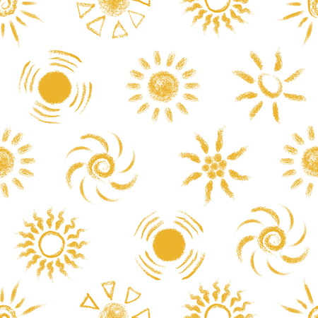手描きのシームレスなパターン ・ サンズをチョーク  イラスト・ベクター素材