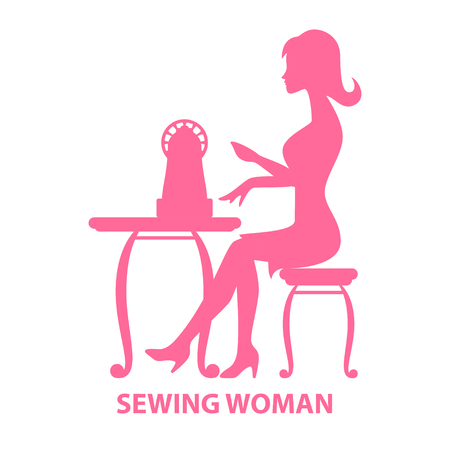 Silhouette of a woman sitting with sewing machine vector illustration