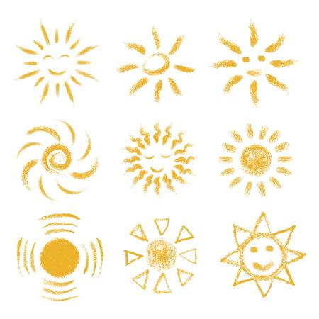 手描きのチョークサンズのセット。パステルクレヨン太陽のアイコンで塗装。スクラップブッキングやカード、ベビーシャワーの招待状、夏のポス  イラスト・ベクター素材