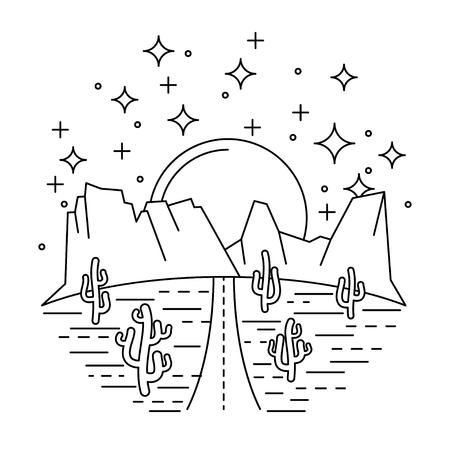 Nightly desert road Illustration