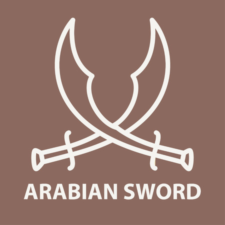 Crossed arabic swords in linear style. Arabic sword template. Vector illustration.