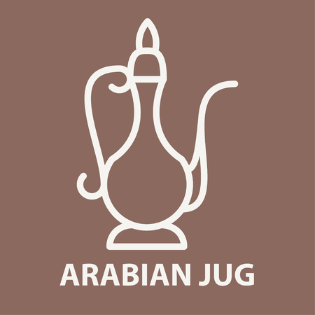 Arabic jug icon in linear style. Arabian jug logo template. Vector illustration. Illustration